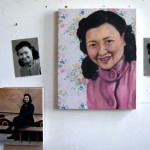 Paintings & photos of my grandmother, in my London studio (2007)