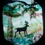 Mind of a Snail - Young Buck in the Forest, Mixed media shadow puppets made for the overhead projector, 2010