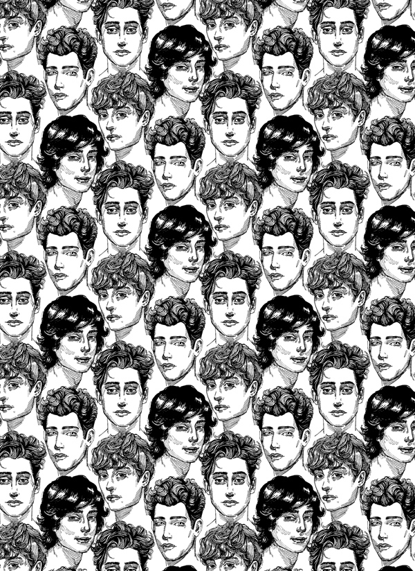 Roselina Hung - pretty boys kill me, wallpaper installation, 2013